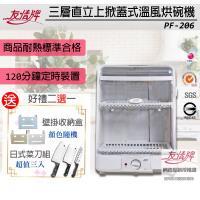 【買就送黑鋼菜刀5件組】友情牌 掀立式溫風烘碗機 PF-206