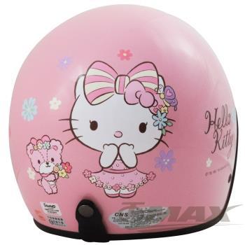熊Kitty半罩式機車安全帽-粉紅色+抗uv短鏡片+6入安全帽內襯套