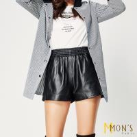 MONS 彈力柔軟細緻小羊皮短褲(100%羊皮)