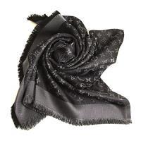 LV  Monogram Shine 金銀亮絲字紋黑色方形圍巾披肩