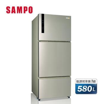 SAMPO聲寶580L一級能效變頻三門冰箱(香檳銀) SR-B58DV(Y6)