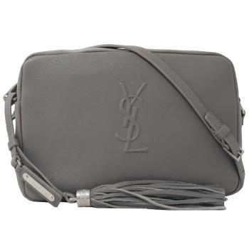 YSL 470299 LOU 小羊皮流蘇飾斜背相機包.灰