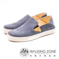 WALKING ZONE 可踩腳 牛皮樂福鞋休閒鞋 男鞋 - 藍(另有棕)