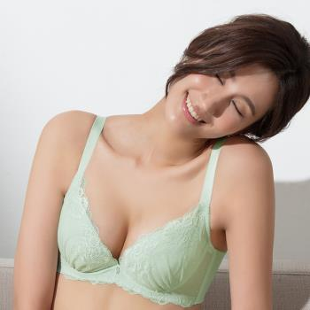【EASY SHOP】暮春淡雅 大罩杯C-E罩內衣(蘋果綠)