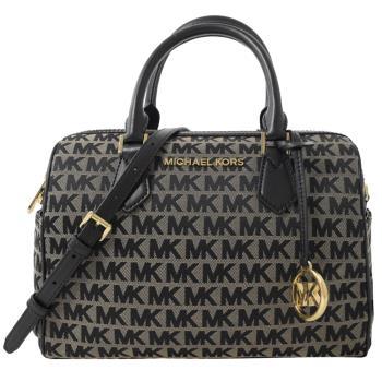 MICHAEL KORS BEDFORD 圓形MK吊飾手提兩用波士頓包.黑