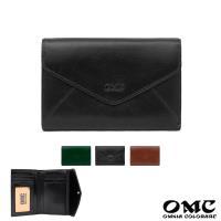 【OMC】15卡1照歐風原皮信封式仕女中夾(黑色)