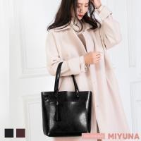 【MIYUNA 米友娜】首爾Rose氣質流蘇牛皮包(魅力黑)