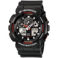 CASIO G-SHOCK 重型機械感立體3D錶盤雙顯腕錶-黑x紅(GA-100-1A4)