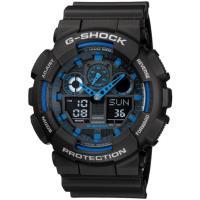 CASIO G-SHOCK 重型機械感立體3D錶盤雙顯腕錶-黑x藍(GA-100-1A2)