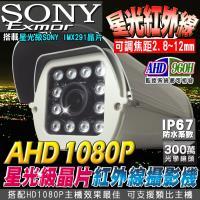 KINGNET 監視器攝影機 防護罩攝影機 AHD 1080P SONY晶片 星光級晶片戶外攝影機 戶外防護罩 12顆陣列燈 台灣製 防水防塵