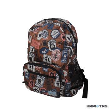 HAPI+TAS H0006 摺疊後背包-MK10米奇復古棕