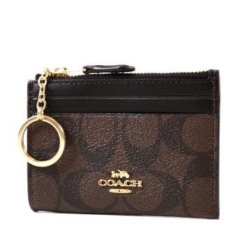 COACH 緹花LOGO防刮皮革證件鑰匙零錢包-咖啡色