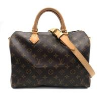 【Louis Vuitton】展示品 Monogram Speedy 30 手提/斜背波士頓包(M41112-咖)