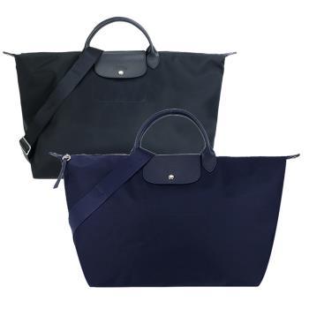LONGCHAMP LE PLIAGE NÉO系列新款厚尼龍奔馬織紋寬背帶短把手提/斜背旅行袋(大/黑)