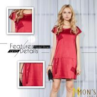 MONS設計款緞面蠶絲修身洋裝