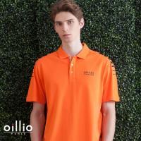 oillio歐洲貴族 男裝 短袖舒適透氣POLO衫 素面簡約休閒 天然彈力棉衣料 橘色 - 男款 網眼編織 吸濕排汗