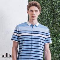 oillio歐洲貴族 男裝 短袖柔軟吸濕排汗透氣POLO衫 休閒紳士條紋 舒適彈力 藍色 - 男款 休閒服法國品牌 柔順手感 簡約電腦刺繡