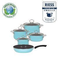 RIESS奧地利國寶陶瓷琺瑯鍋具5件組水晶藍