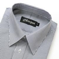 Chinjun抗皺商務襯衫、長袖,黑白相間條紋,編號8049