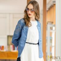 MONS 時尚設計款手工蕾絲100%亞麻外套