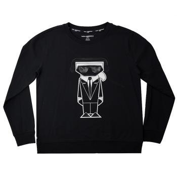 KARL LAGERFELD 卡爾 DJ老佛爺造型棉質長T恤.黑