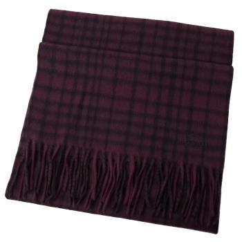 COACH 12167 馬車LOGO喀什米爾羊毛流蘇格紋圍巾.深紅