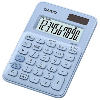 【CASIO】 10位元馬卡龍輕巧桌上計算機(MS-7UC-LB)-蘇打藍