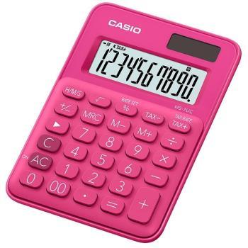 【CASIO】 10位元馬卡龍輕巧桌上計算機(MS-7UC-RD)-紅蜜桃
