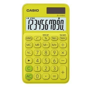 【CASIO】 10位元馬卡龍輕巧口袋型計算機(SL-310UC-YG)-芥末黃