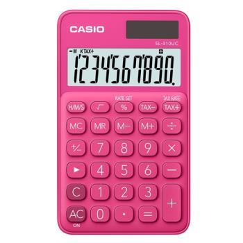 【CASIO】 10位元馬卡龍輕巧口袋型計算機(SL-310UC-RD)-紅蜜桃