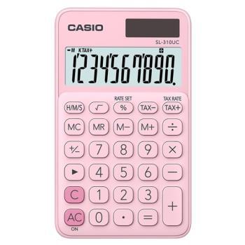 【CASIO】 10位元馬卡龍輕巧口袋型計算機(SL-310UC-PK)-草莓粉