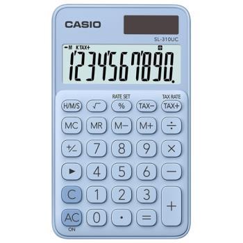【CASIO】 10位元馬卡龍輕巧口袋型計算機(SL-310UC-LB)-蘇打藍