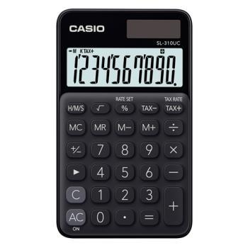 【CASIO】 10位元馬卡龍輕巧口袋型計算機(SL-310UC-BK)-蜜黑糖