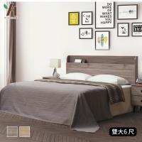 【伊本家居】威爾 鋼刷床頭片+全封木心板六分底二件組 兩色可選 雙大6尺