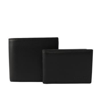 COACH 素面全皮對開短夾(附證件夾)(黑色) F74991 BLK
