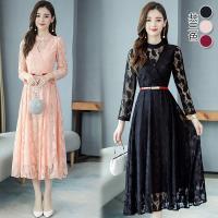 韓國K.W.(預購)韓時尚都會優雅蕾絲氣質長裙