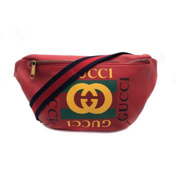 【GUCCI】復古綠紅綠織帶Print胸口包/腰包/斜背包-80cm(530412-紅)