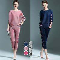 歐風KEITH-WILL (預購) 優美復古印花兩件式壓褶套裝