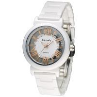 Canody 雙鏤空時尚陶瓷腕錶/ 白X玫瑰金/ 35mm/ CB1220-3B