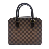 【Louis Vuitton】Damier 帆布拉鍊雙層手提包(咖)