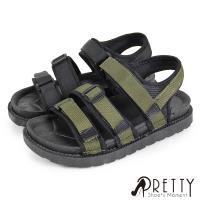 Pretty 線條織帶沾黏式平底休閒涼鞋BA-26618