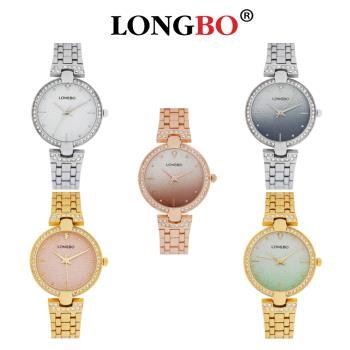 LONGBO龍波 80658 璀燦星砂鑲鑽外框名媛鐵帶手錶