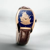 LONGINES浪琴 典藏18K金旗艦金雕彩繪錶-33x38mm(L27068982)