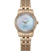 CITIZEN 星辰 光動能白蝶貝璀璨晶鑽腕錶/香檳金/31mm/EM0773-54D