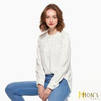 MONS法式優雅100%純棉蕾絲襯衫