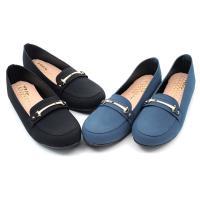 【 101大尺碼女鞋】MIT質感金飾絨面百搭舒適好穿豆豆鞋-黑絨/藍絨 41-44碼-0960422789-89