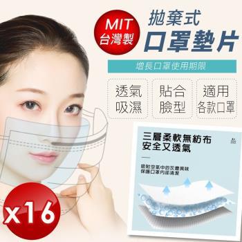 小魚創意行銷 台灣製造防潑水防飛沫口罩墊片(50張/袋)-16入組