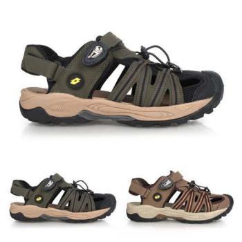 LOTTO 男排水護趾涼鞋-反光 休閒 海邊 戲水 水陸鞋 拖鞋
