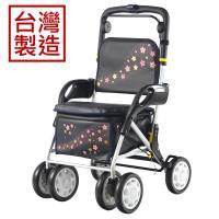 MIT台灣製造 櫻花飛舞有扶手收合式健行車、散步車、助行車、購物車