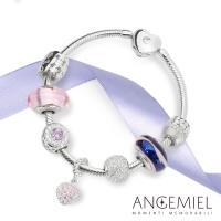 Angemiel 安婕米 925純銀手鍊串珠套組 母親節禮盒-優雅紫(義大利手工 故事珠飾)